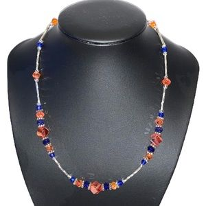 Hand Crafted blue orange & silver beaded necklace